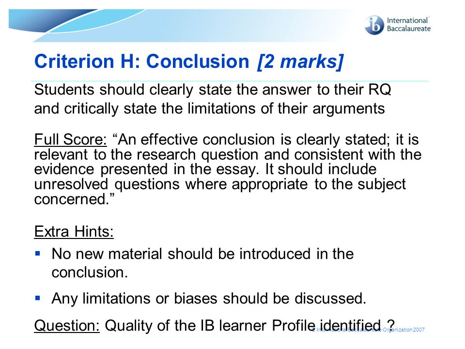 Criterion H: Conclusion [2 marks]